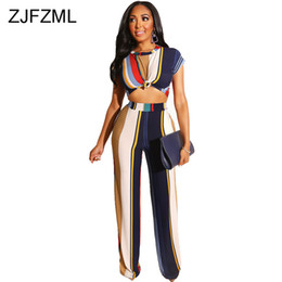 wide leg orange pants 2020 - Rainbow Striped Sexy 2 Two Piece Set Women Tracksuit O Neck Short Sleeve Crop Top And Wide Leg Pant Plus Size Outfits Sw