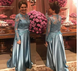 Floor Length Designer Mother Dresses NZ - 2019 Stunning Mother of the Bride Groom Dresses Plus size Long Lace Sleeves Designer Satin Sequins Illusion Evening Formal Dress Gowns Cheap