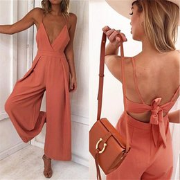 $enCountryForm.capitalKeyWord Australia - Sexy Camisole Jumpsuit Summer Women Sexy V Neck Jumpsuits Rompers Solid Fashion High Waist Women's Loose Elegant Overalls