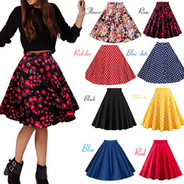 Wholesale Black Skirt Women High Waist Plus Size Floral Print Polka Dot Ladies Plaid Skirts Skater s Swing Vintage Skirts Womens