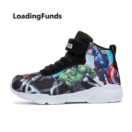Canvas Children Boot Australia - Loadingfunds Kid Sneakers Boy Basketball Shoes Running Shoes The Avengers Baby Children Shoes Sport Boot Cartoon Gamin Chaussure Y19051504