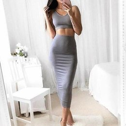 498146a8e5 Women's Sets 2019 Sleeveless 2 Piece Set Women Crop Solid Crop Top and Pencil  Skirt Ladies Elegant Office Ladies Two Piece Set