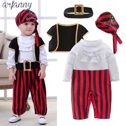 Pirate Suits Australia - Baby Boys Clothes Lovely New Baby Pirate Captain Halloween Boy Set Children's Costume Dance Cosplay Young Children4 Pieces Suits J190514