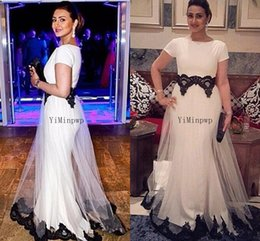 $enCountryForm.capitalKeyWord Australia - 2020 White Mermaid Evening Dresses Long For Women Short Sleeve Tulle Black Appliques Formal Prom Party Dress Plus Size vestidos de fiesta
