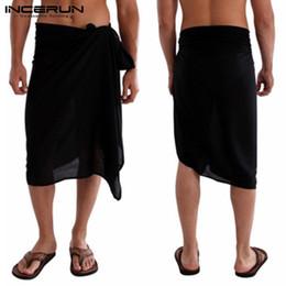 $enCountryForm.capitalKeyWord Australia - Fashion Bath Towel INCERUN Men Bathrobes Skirts Solid Loose Pajamas 2019 Leisure Blanket Beach Towel Skirts Men Homewear S-5XL