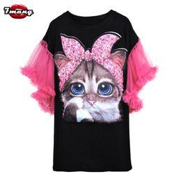 9f67f91c328 7mang summer women cute black white cartoon cat sequins t shirt lady street  harajuku loose mesh butterfly sleeve party tees