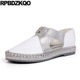 $enCountryForm.capitalKeyWord NZ - China Breathable Metal White Ladies Beautiful Flats Shoes Diamond Crystal Brand Slip On Rhinestone Chic Women Metallic Chinese