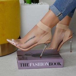 Discount sexy nude transparent dress Elastic band cross strap Dress Shoes nude transparent PVC clear high heels luxury women Sexy shoes Come With Box Plus si