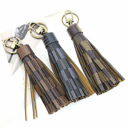 diy leather key chain 2021 - Luxury Tassel Keychain Plaid Leather Keyrings Jewelry DIY Bag Pendant Car Key Chains Ring Holder for Women Men Fashion Bag Charm Accessories