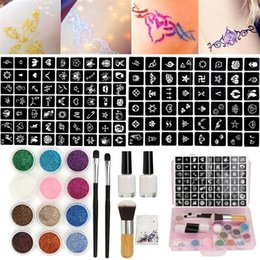 $enCountryForm.capitalKeyWord Australia - it glitter tattoo 12 Colors Powder Temporary Shimmer Diamond Glitter Tattoo Kit For Body Art Design Paint With Rhinestone 111 Stencil Glu...