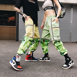Wholesale baggy pants orange resale online – 3M Reflective Panelled Contrast Casual Pants Men and Women Joggers Streetwear Baggy Harem Pants Oversize Hip Hop Track Pants