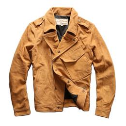 $enCountryForm.capitalKeyWord UK - AVIREXFLY Large slanting locomotive Coats Scrub cowhide leather diagonal zipper suit collar slim short motorcycle leather jacket