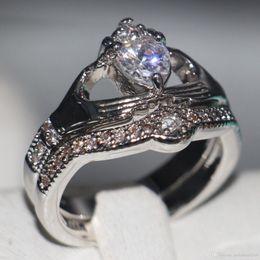 Gemstone Ring Size Gold Australia - Size 5-11 Wholesale Big Promotion Claddagh Fashion Jewerly 10KT White Gold Filled Topaz CZ Diamond Gemstones Wedding Women Bridal Ring Set