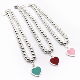 $enCountryForm.capitalKeyWord Australia - 2019 Hot sale S925 Sterling Silver beads chain bracelet with enamel grenn and pink heart for women and mother's day gift jewelry