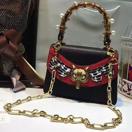 $enCountryForm.capitalKeyWord Australia - bamboo handle bag women Genuine Leather handbags pearl Snake heard crossbody bag women famous brand chain shoulder bags 2018 tote