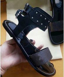 $enCountryForm.capitalKeyWord Australia - Gladiator Style Branded Women Leather Studs Nomad Sandal Ankle Wrap Lady Print Canvas Leather Outsole Flat Urban Sandals Paris