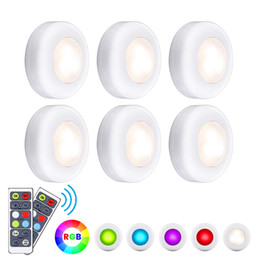 Under cabinets lighting online shopping - LED Closet Lights RGB Puck Lights Colors Wireless Under Cabinet Lighting Battery Powered Night Lights with Remote Control Dimmer Timing