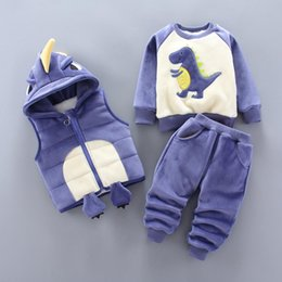 velvet hooded vest Canada - Baby boy clothes cotton warm suit cartoon dinosaur plus velvet thick hooded sweater baby casual sports sweater vest three-piece Y200323