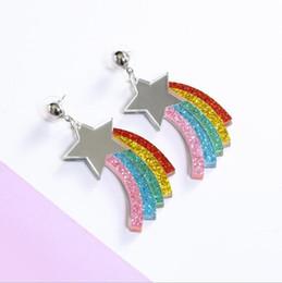 $enCountryForm.capitalKeyWord NZ - 2019 New Arrival European and American Style Summertime Rainbow Star Alloy Dangle Stud Earrings for Women E5770