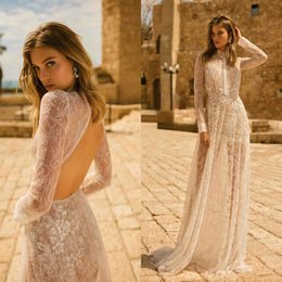 $enCountryForm.capitalKeyWord UK - Muse By Berta Lace Wedding Dresses 2020 Long Sleeves Open Back Beach Sexy Wedding Gowns Illusion Bodice Custom Made robes de mariée