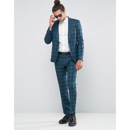 $enCountryForm.capitalKeyWord Australia - 2020 Classic British Plaid Men Wedding Tuxedos Handsome Slim Fit One Button Casual Prom Suits Man Party Blazer Suit (Jacket+Pants)