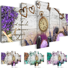 Wedding Canvas Prints Australia - Room Decor Wedding Wall Decor Modern Wall Painting Flowers and Clock Home Decorative Art Picture Paint on Canvas Prints for Bedroom,Choose C