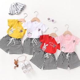 $enCountryForm.capitalKeyWord NZ - Girls Fashion Set Summer Korean Cotton Cartoon Short Sleeve Stripe Pants Shorts Children's Wear Two-piece Set One Generation