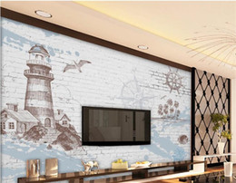 backdrop tv NZ - 3D photo mural retro nostalgia nautical lighthouse wallpaper TV backdrop decorative painting wallpaper for walls 3d