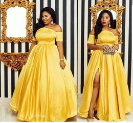 $enCountryForm.capitalKeyWord Australia - Plus Size Elegant Yellow Evening Dresses Off the Shoulder Satin 2019 Split Prom Dress Short Sleeve Plus Size Party Gowns