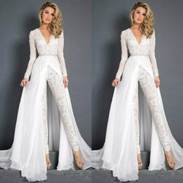 $enCountryForm.capitalKeyWord NZ - 2019 New Lace Chiffon Wedding Dresses Jumpsuits With Overskirt Modest V Neck Long Sleeve Beaded Belt Beach Casual Jumpsuit Bridal Gowns 2837