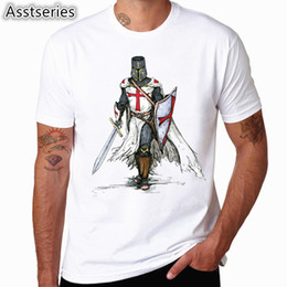 $enCountryForm.capitalKeyWord Australia - Templar Knight White Print T Shirt Summer New Men's O-Neck Tshirt Short Sleeve Hipster Swag Harajuku Men's Clothing