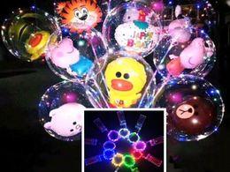 Discount diy balloons - 12 design LED balloon Night Flash Light Bobo Balloon Birthday Christmas Day DIY Decoration bear rabbit animal led balloo