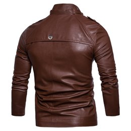 Wholesale multi color leather jacket resale online – specifically for Spring new men s multi button collar washed leather motorcycle jacket men