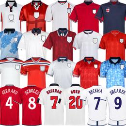 Copa do mundo retrô 2002 England INGLATERRA DE FUTEBOL JERSEY camisa de futebol em casa ROONEY Lampard BECKHAM OWEN 1982 KEEGAN McDERMOTT Shearer 1998 kits em Promoção