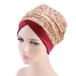 2141d3f8fe2 New Women Velvet Turban Long Mesh Band requined beaded Velvet Turban  Headband Chemo Headwear Hijab Turbante Hair Accessories