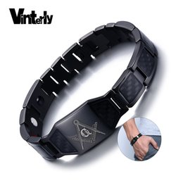 $enCountryForm.capitalKeyWord Australia - Vinterly Black Magnetic Bracelet Men Stainless Steel Hand Chain Masonic Punk Id Bracelets Carbon Fiber Magnet Health Bracelets MX190727