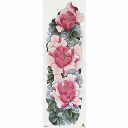 China 1 Piece Pink Peony Flower Pattern Temporary Tattoo Sticker With Arm Body Art Big Sleeve Large Fake Tattoo Sticker suppliers