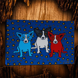 Painting Can Australia - Blue Dogs Oh Say Can You See,1 Pieces Canvas Prints Wall Art Oil Painting Home Decor (Unframed Framed) 24X36.