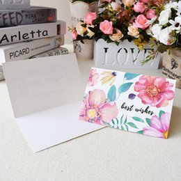 Discount beautiful invitation cards 48pcs set Beautiful Flowers Painting Best Wishes Cards With Envelopes Christmas Greeting Cards Wedding Invitation Card L
