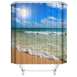 Ingrosso Personalizzato Impermeabile sole conchiglia spiaggia Cielo blu stelle marine mare marino Tende da doccia Stampa digitale 3D Tende da bagno con anelli