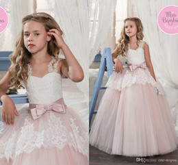 daughter father ball dress Canada - Princess Cheap Lovely Cute Flower Girl Dresses Satin Mother and Daughter Toddler Long Pretty Kids First Holy Communion Dress