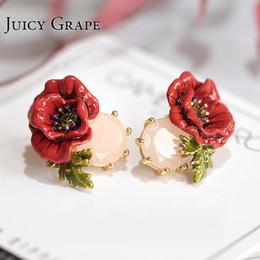 Jewelry Enamel Painting Australia - Juicy Grape Hand Painted Enamel Glaze Jewelry Red Rose Flower Crystal Earrings Gilded Stud Earrings Woman Accessories T7190617