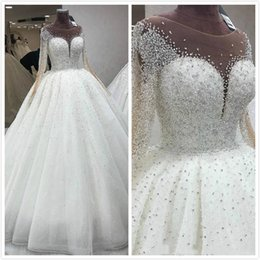 Sparkly pleated bridal ball gownS online shopping - Luxurious Jewel Ball Gown Major Beading Crystals Sparkly Long Sleeves Sweep Train Wedding Dresses Pleats Custom Made Bridal Wedding Gowns