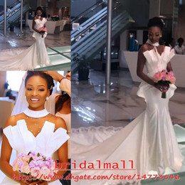 Chinese  Plus Size 2019 African Wedding Dresses Mermaid Sheer High Neck Black Girl Bridal Gowns Elegant Draped Peplum Bride Dress Vestidos De Novia manufacturers