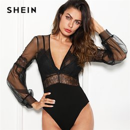 e34026a1ff SHEIN Black Sexy Elegant Plunge Neck Lace Insert Sheer Mesh Puff Sleeve Mid  Waist Bodysuit Summer Women Going Out Bodysuits