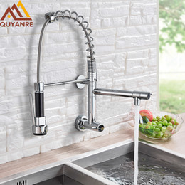 Kitchen Pull Handles Australia - Wall Mounted Spring Kitchen Faucet Pull Down Sprayer Dual Spout Single Handle Mixer Tap Sink Faucet 360 Rotation Kitchen Faucets