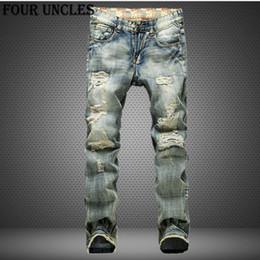 $enCountryForm.capitalKeyWord NZ - Big Size 42 2017 European Style Men Jeans Holes Frazzled Jeans Mens Casual Leisure Denim Long Pants Light Blue QQ0293