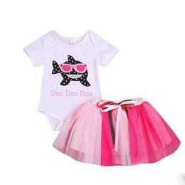 Girls Lace Summer Shorts Set UK - baby shark romper kids girl Short Sleeve Shark Printed Kids Outfits Clothes Summer Rompers cute shark jumpsuits+pink mesh skirt two sets C23