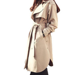 China new spring autumn fashion Casual women's khaki Trench Coat long Outerwear loose clothes for lady with belt cheap leather belt design patterns suppliers