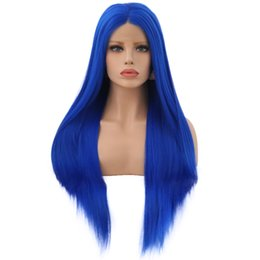 synthetic lace wigs free shipping UK - Free Shipping Long Straight Synthetic Lace Front Wig 26 Inch Blue Color Pre Plucked Wigs Glueless 150% Density Cosplay Wigs For Black Women